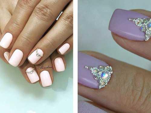 Красивый дизайн ногтей со стразами